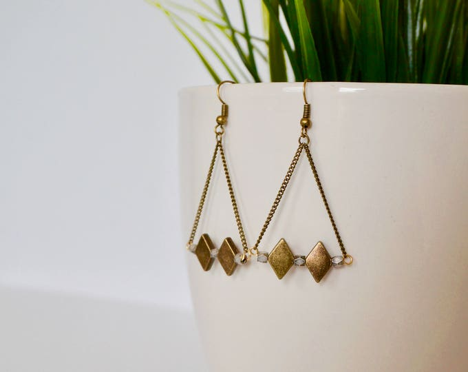 Rasul brass diamond charms-antique earrings