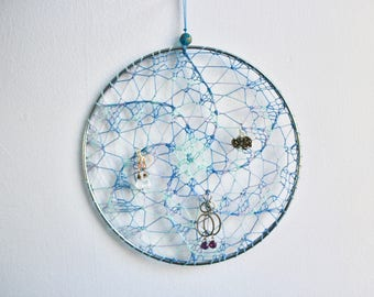 Earring Holder - Multicolor Blue / Jewelry Organizer / Jewelry Display / Suncatcher / Dreamcatcher