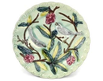Antique Majolica Bird Plate.