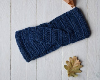 Blue Headband for hair-crochet wool Band-girl headband-wool band with Braid