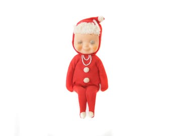 Red Pixie Shelf Sitter, 1950's 1960's Christmas Decoration, Vintage Pixie Elf Knee Hugger, Sleepy Pixie, Vintage Christmas Pixie Girl