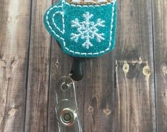 Winter Badge Reel - Holiday Badge Reel - Felt Badge Reel - Snowflake Badge Holder - Christmas Tree Reel - Nurse Badge Clip - Badge Reels