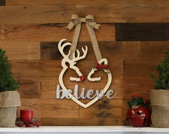 Buck and Doe Heart with Metal Lettering Wreath Kit