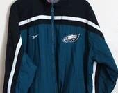 90s Vintage Reebok Philadelphia Eagles Windbreaker Jacket Proline Jacket Vintage Football Jacket Sports Size Medium