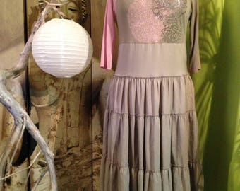Romantic dress T 38-40 khaki and pink