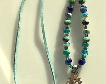 Long Blue and Turquoise Czech Glass Beads and Leather Necklace With Coptic Cross Pendant