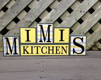 On Sale Now! Ready To Ship! Wood Block Sign - MIMIS Kitchen - Yellow and Gray