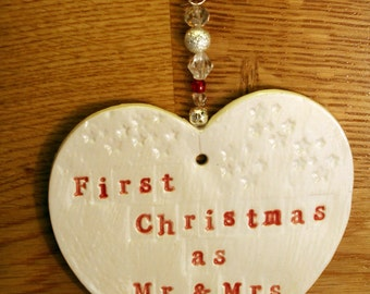 First Christmas as Mr and Mrs Pottery Heart. A lovely gift for a newly married couple for Christmas time.
