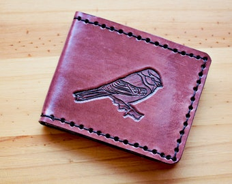 Bird Wallet Hand Carved Leather Wallet Hand Tooled Leather Card Holder Leather Billfold Wallet Mens Leather Bifold Wallet Ladies Wallet Gift