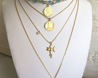 Gold coin necklace, Aqua marine necklace, Rosary necklace, Bohemian necklace, Marine blue and gold, beaded choker,layering necklace