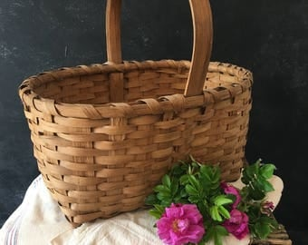 Antique split wood  gathering basket with wood handle rustic primitive decor from MilkweedVintageHome