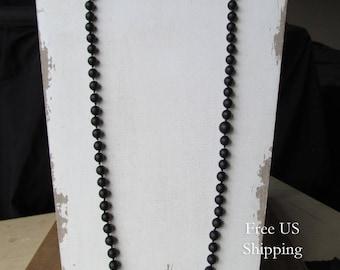 Matte Black Onyx Mala 108 Bead, Hand Knotted Mala, No Tassel Mala, Prayer Beads, Long Necklace, Yoga Jewelry, Japa Mala, Meditation Beads