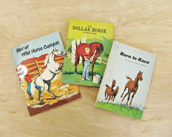 Vintage Horse Book Set Horse Stories Horse Book Collection Born To Race Dollar Horse Star of Wild Horse Canyon Books About Horses