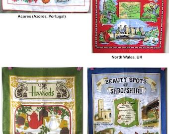 Vintage Tea Towel,Souvenir Tea Towel,North Wales or Shropshire Tea Towel,Harrods Towel,Vintage Kitchen Linens,Novelty Gift