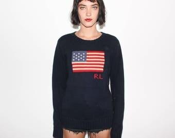 Vintage 90s Ralph Lauren USA Flag Knit Sweater