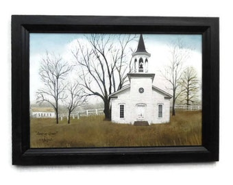 Amazing Grace, Church Picture, Billy Jacobs, Art Print, Country Home Decor, Wall Hanging, Handmade, 21X15 Custom Wood Frame, Made in the USA