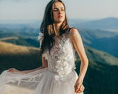 Ivory tulle wedding gown, 3D floral embroidery dress, illusion neckline dress with handmade silk flowers // Veronika