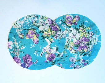 Nursing Pads, Breastpads, Breastfeeding, No Show, Heavy Absorbency, New Mom Gift Blue Teal Flowers- See my shop for more prints