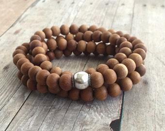 Sandalwood Bead Necklace or Wrap Bracelet / 108 Bead Sandalwood Mala / Women's / Men's Jewelry / Sterling Silver Brown Wood Bead Necklace
