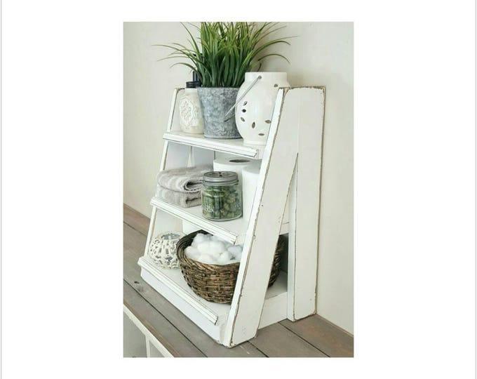 Tiered Ladder Shelf - Small Tiered Shelf - Bathroom Shelf - Tiered Shelf - Freestanding Shelf