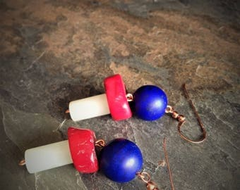 Chunky Jade Coral & Glass Copper Earrings