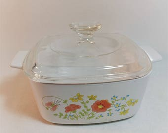 Vintage Corning Ware Wildflower Casserole Dish With Lid, A-1-1/2 B, 1-1/2  Quart