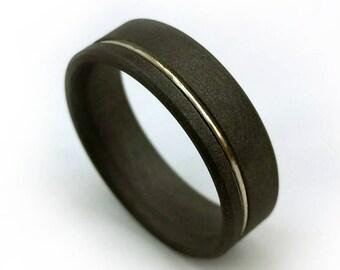 Sandblasted Titanium Ring, White Gold Ring, Gold Wedding Band, 18k Gold Ring, 18k White Gold, Matte Finish Ring, Titanium Wedding Band, GJG