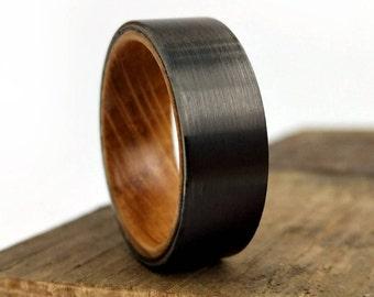 Black Wedding Ring, Whiskey Oak Ring, Jack Daniel's Ring, Bourbon Barrel, Bourbon Ring, Old Growth Wood, Wooden Ring, Reclaimed Wood