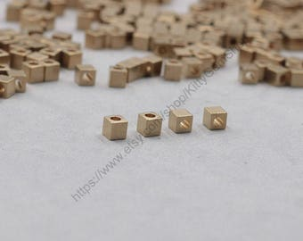 50Pcs, 4mm Raw Brass Cube Beads , Hole Size 1.5mm , GY-X886