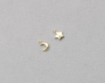 2Pcs 8mm Sterling Silver Star Moon Pendants With Gold Plated -- 925 Silver Charms Wholesale For Handmade Supplies JD-018,YHA