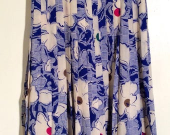 Vintage 1970s Burberry's Long Pleated Blue and White Floral Wool Skirt, Fantastic Graphic, Made in England