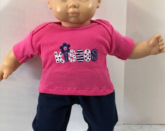 "15 inch Bitty Baby Clothes, 2-Piece Outfit, Super Cute ""KISSES"" Pink Top, Navy Pants, 15 inch Bitty Baby and Twin Doll, American Doll"