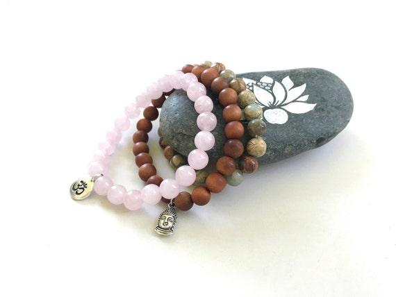 African Opal, Sandalwood and Rose Quartz Bracelet, Yoga Bracelets, Bracelets With Matching Mala Beads, Gemstone and Wood Stretch Bracelet