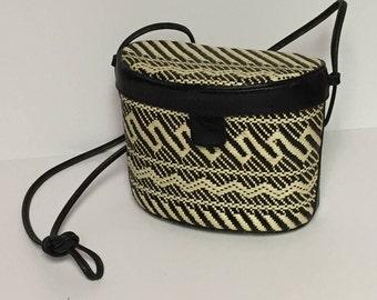 Vintage Talbots Raffia, Straw, Crossbody, Shoulder Bag, Black and White Woven Purse