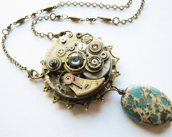 Steampunk Antique Watch Movement Necklace with Aqua Terra Jasper, Steampunk Necklace, Steampunk Watch Necklace, Victorian Necklace PN80