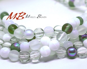 50 8mm White, Grey Frosted, and Clear Mix Druk Beads, White and Grey Tones, Czech Round Druk Beads,