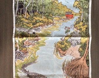 Vintage Tea Towel Country Kitchen Linen Australian Crocodiles Animal
