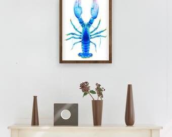 Cobalt Lobster Watercolor | Blue Lobster Wall Art | Blue Lobster Illustration | Blue Lobster Art Print | Blue Lobster Decor | Ocean Art