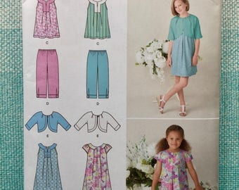 Simplicity 1926 Sewing Pattern Girls Children's Dress Shrug Jacket Tunic Sleeveless Cropped Pants Capris Size 3-4-5-6