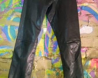 Vintage 1990s Leather pants Black  1990S VINTAGE PANTS Leather skinny pants black mid rise Leather Pants size XS S small