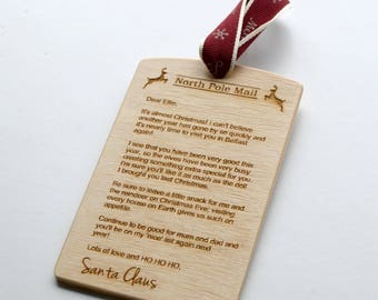 Personalised Letter From Santa Claus - Wooden letter from Santa - Christmas gift - Tree Hanger - Stocking Filler