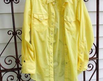 NEW VINTAGE Rockmount Ranchwear Yellow western pearl snap shirt mens LS 15 1/2 32 lightweight