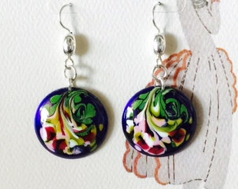 Enameled bouquet earrings.