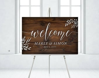Wood Wedding Sign Eucalyptus Garland Olive Leaf Twig Rustic Forest Wood Plank White Calligraphy . PRINTED on Paper • Foam Board • or Canvas