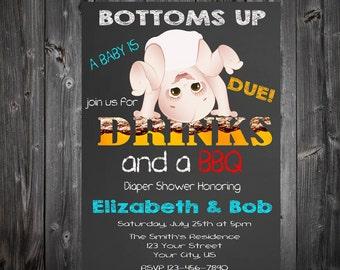 Funny Baby Diaper Shower BBQ & Drinks Chalkboard Invitation
