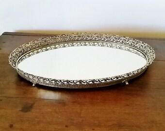 Large Silver Oval Vanity Mirror Tray, Silver Vanity Mirror Tray, Perfume Tray, Mirror Tray, Vintage Vanity Mirror Tray