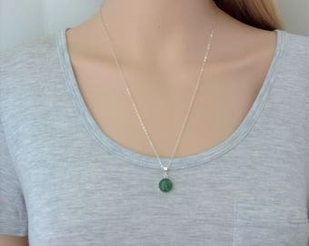 Natural green gemstone pendant necklace in sterling silver; aventurine pendant necklace; sterling silver green gemstone necklace