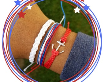 Fourth of July Bracelets | 4th of July Jewelry | July 4th Accessories | Red White and Blue Bracelet Stack | Independence Day Jewelry