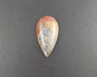 Agate Cabochon, 38x20mm, large cab, large cabochon, agate cab,  large stone, agate, ring size, red blue yellow gray, teardrop cab,