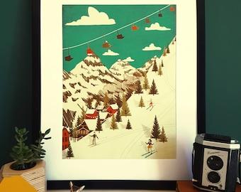 Skiing Mountain Vintage Illustration Print